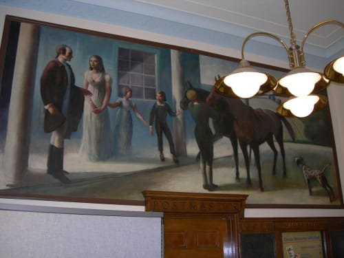 Murals by Guy Pene du Bois seen at United States Postal Service - Rye, Rye - John Jay at His Home