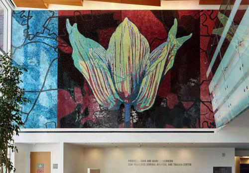 Murals by Rupert Garcia seen at Zuckerberg San Francisco General Hospital and Trauma Center, San Francisco - Nature of Medicine - Reception Desk