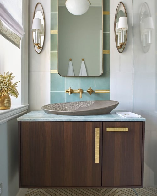 Water Fixtures by Kohler seen at SF Decorator Showcase 2019, San Francisco - Kensho Vessel Sink, Purist Faucet  and Wall-Hung Bathroom Vanity Cabinet