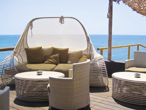 Couches & Sofas by Kenneth Cobonpue seen at Theros Wave Bar, Santorini, Greece, santorini - Lolah Daybed and Coffee Table