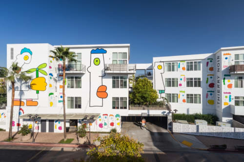Murals by Thierry Noir seen at Lofts at NoHo Commons, Los Angeles - Freedom Boulevard