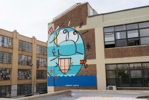 Street Murals by Timothy Curtis seen at Morgan Avenue, Brooklyn - Big Face watching the Sky