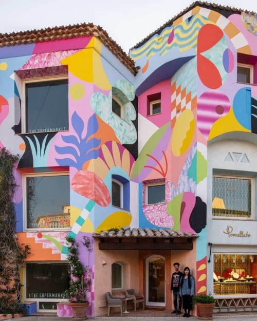 Murals by Zosen seen at Promenade du Port, Porto Cervo - Mural