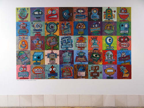 Paintings by Jordi Fornies seen at Facebook HQ, Menlo Park - Robots