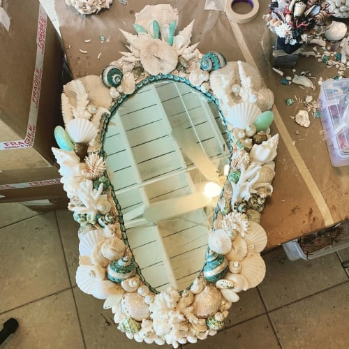 Wall Hangings by Christa Wilm seen at Private Residence, Palm Beach - Seashell Mirror