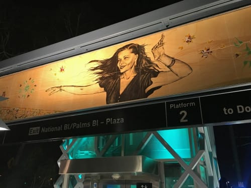 Paintings by Shizu Saldamando seen at Palms Station, Los Angeles - Artist Educators