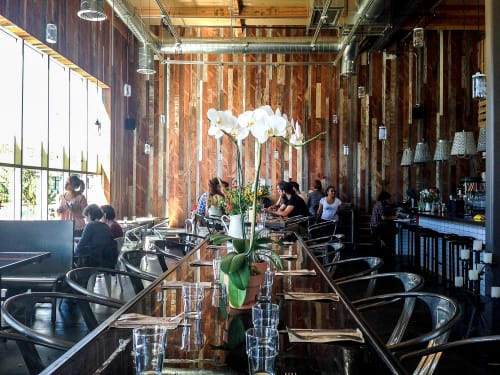 Interior Design by Arika Jacobs Design Studio seen at Sage Vegan Bistro - Culver City, Culver City - Reclaimed Barn Wood Wall