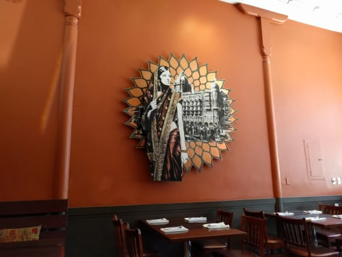 Murals by Eddie Colla seen at DOSA on Valencia, San Francisco - Indian Girl