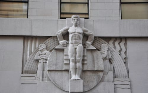 Sculptures by Ralph W. Stackpole seen at Stock Exchange Tower, Pacific Coast, San Francisco - Man Sculpture