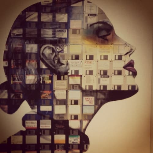 Paintings by Nick Gentry seen at Hotel Zetta, San Francisco - Artwork Crafted From Floppy Disks