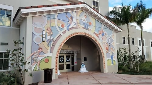 Murals by Richard Haas seen at Downtown Doral Charter Elementary School, Doral - Main Entrance
