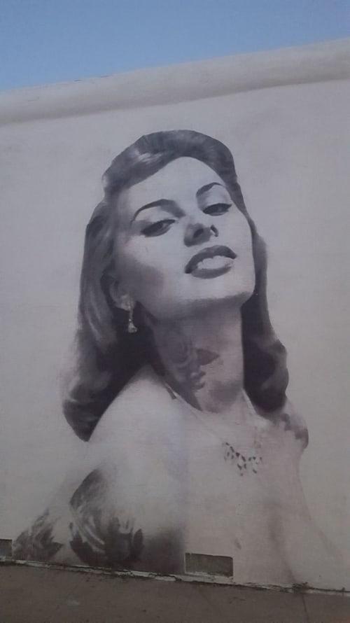 Murals by Cheyenne Randall aka INDIANGIVER seen at Felix, Los Angeles - Sophia Loren