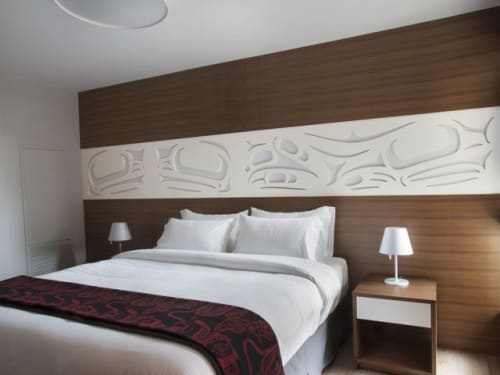 Sculptures by Sabina Hill seen at Skwachàys Lodge, Vancouver - Frog Triptych Headboard
