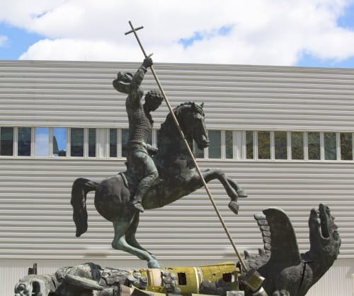 Sculptures by Zurab Tsereteli seen at United Nations, NY, New York - Good Defeats Evil