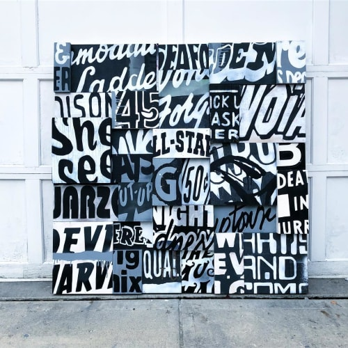 Paintings by Aaron Whisner seen at Catherine M. White, Attorney at Law, Columbus - Collage Diptych