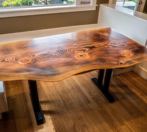 Tables by Wane + Flitch seen at Private Residence, Tacoma - Burnt Fir Dining Table