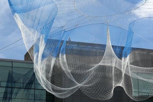 Sculptures by Janet Echelman seen at Bill & Melinda Gates Foundation, Seattle - Impatient Optimist