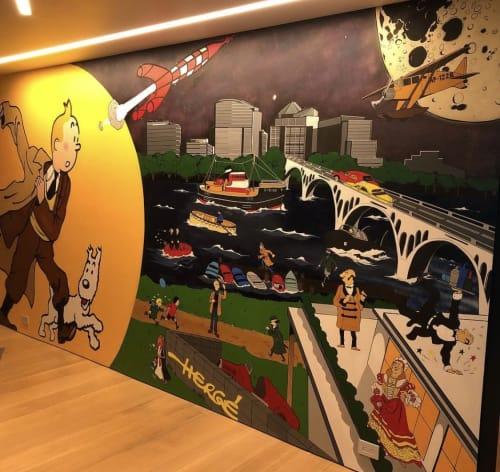 Murals by Maria E. Miller seen at Watergate Complex Real Estate, Washington - Tintin Mural