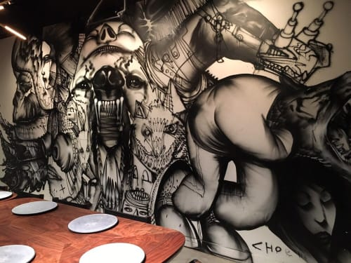Murals by David Choe seen at Momofuku Ko, New York - Mad Dog Mural