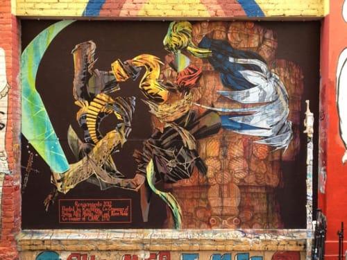 Murals by Raymond Patlan seen at 19th Street, San Francisco - El Mundial