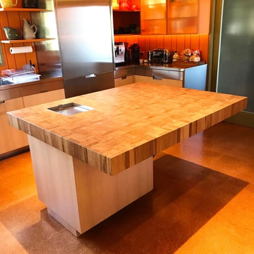 Tables by The Wooden Palate seen at Private Residence, Los Angeles - Cantilevered Countertop