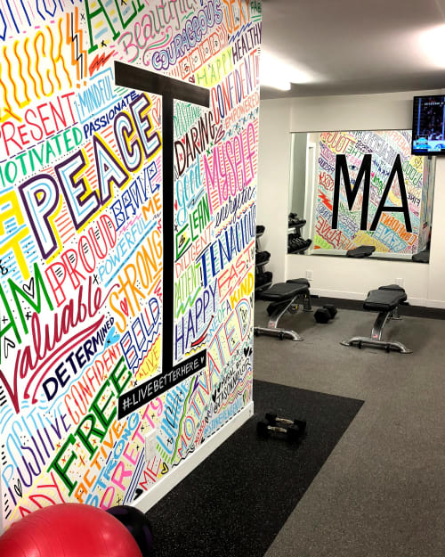 Murals by Jason Naylor seen at Stonehenge NYC, New York - StoneHengeNYC Gym Mural