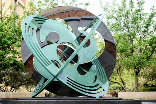 Sculptures by Owen Morrel seen at Texas Tech University, Lubbock - Astrolabe