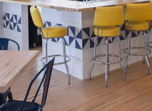 Tiles by Mirth Studio seen at Pier 101 Restaurant & Bar, Folly Beach - Custom Navy and White Diagonal