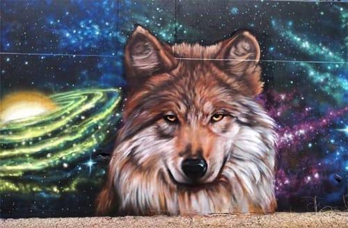 """Murals by Jesus """"CIMI"""" Alvarado seen at El Paso Convention And Performing Art Center, El Paso - Mexican Grey Wolf Mural"""