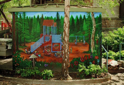 Street Murals by Marlon Romero Gomez seen at 201 Turk Street, Downtown, SF, San Francisco - Playground
