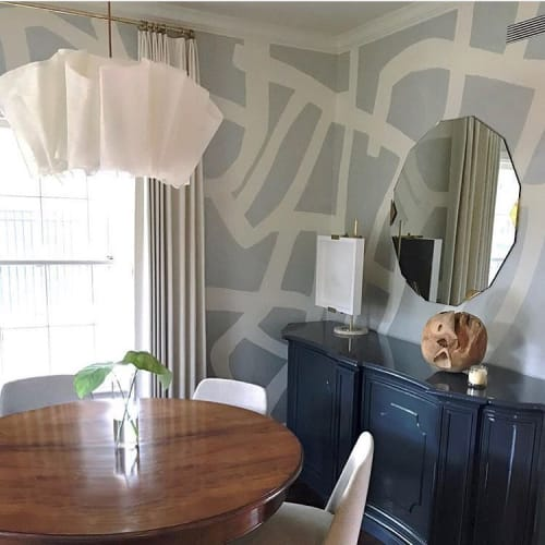 "Wallpaper by Porter Teleo seen at Private Residence, Houston - ""Tangled-Argent"" Wallcovering"