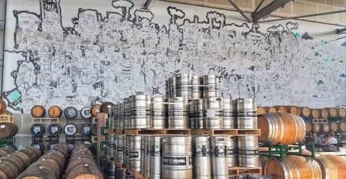 Murals by Lauren Asta seen at Faction Brewing, Alameda - Doodles