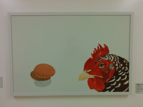 Paintings by Diane Jacobs seen at Zuckerberg San Francisco General Hospital and Trauma Center, San Francisco - Chicken & Egg