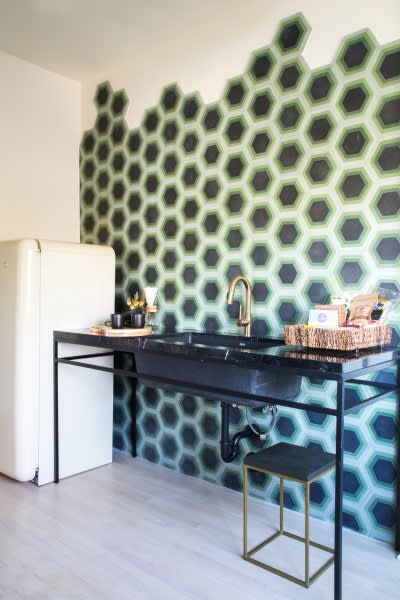 Tiles by Kismet Tile seen at Hotel Covell, Los Angeles - Kismet Tile - Hex #8