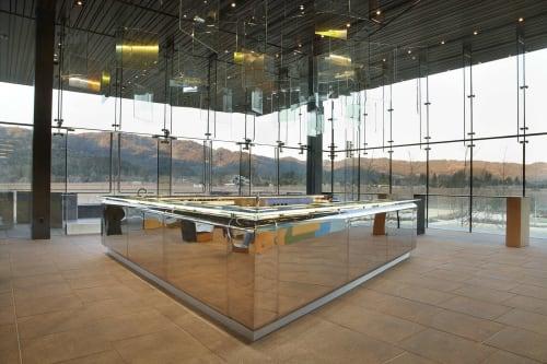 Tables by Nicole Hollis seen at HALL Wines, Saint Helena - Bar Mirror Polish Steel Bar