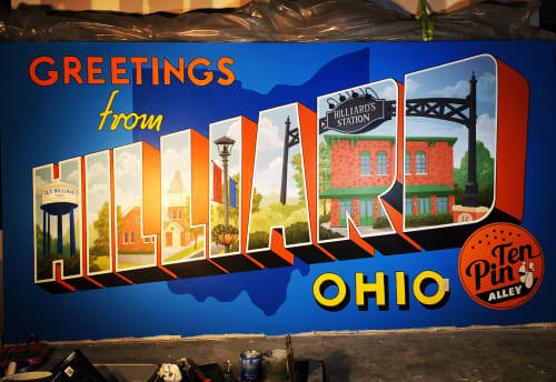 Murals by Artisan Rooms seen at Ten Pin Alley Hilliard Ohio, Hilliard - Vintage Postcard Mural In A Bowling Alley
