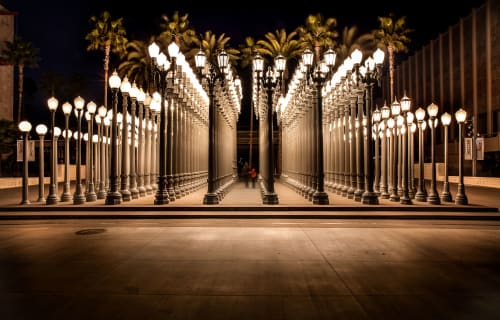 Sculptures by Chris Burden seen at Los Angeles County Museum of Art (LACMA), Los Angeles - Urban Light