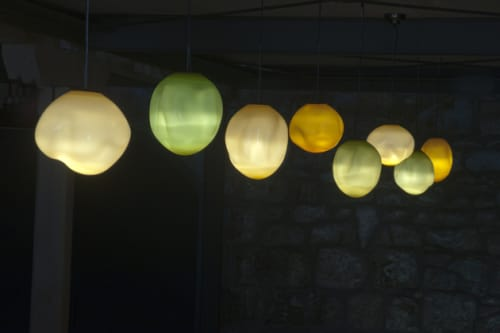 Pendants by Tristano di Robilant seen at HALL Wines, Saint Helena - Blown Murano Glass Pendant Lights
