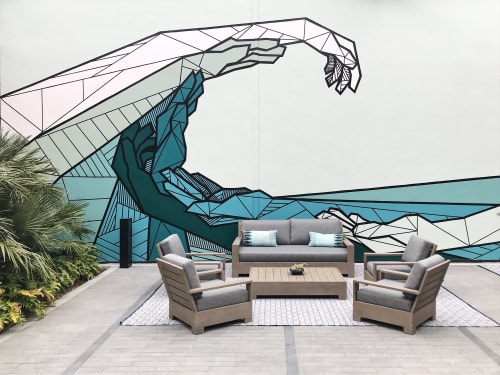 Murals by Allison Kunath at 555 aviation, El Segundo - Flow