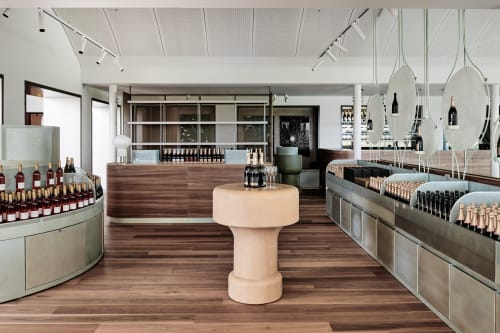 Furniture by George Fethers seen at Domaine Chandon, Coldstream - Spotted Gum Timber Flooring and Joinery