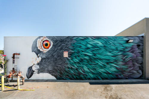 Murals by Adele Renault seen at Graphaids Art Supply, Long Beach - Pigeon