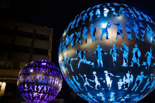 Public Sculptures by Creative Machines seen at Lenexa Rec Center, Lenexa - Body Politic
