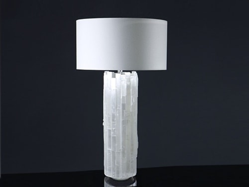 Lamps by Ron Dier Design seen at 76th Street, Queens - Selenite Cylinder Table Lamp
