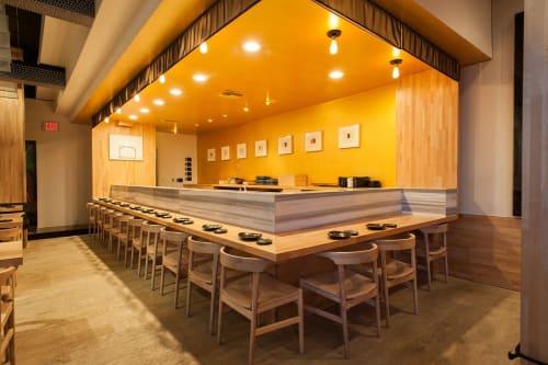 Tables by Marwan Al Sayed Inc. seen at Hamasaku, Los Angeles - Maple Sushi Bar