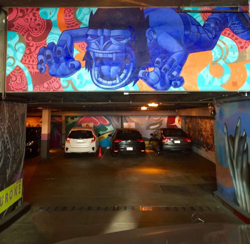 Murals by John Park seen at Blick Art Materials - West Hollywood, CA, Los Angeles - Leaping Gorilla 2014