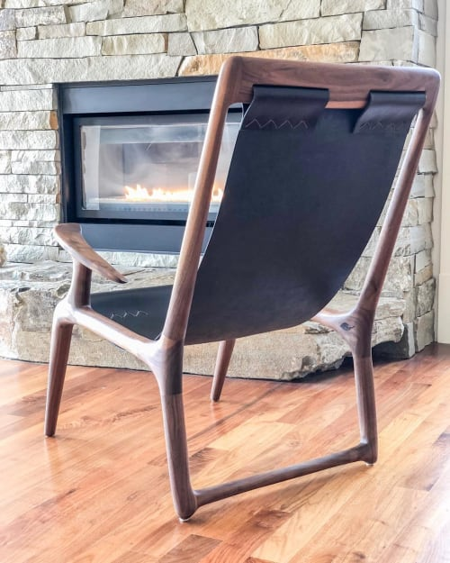 Chairs by Fernweh Woodworking seen at Private Residence, Bend - Walnut Sling Chair