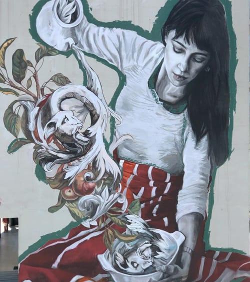 Street Murals by Lula Goce seen at Viseu, Viseu - Mural