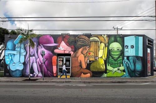 "Murals by Julien ""Seth"" Malland seen at Wynwood Kitchen & Bar, Miami - Human Kind"