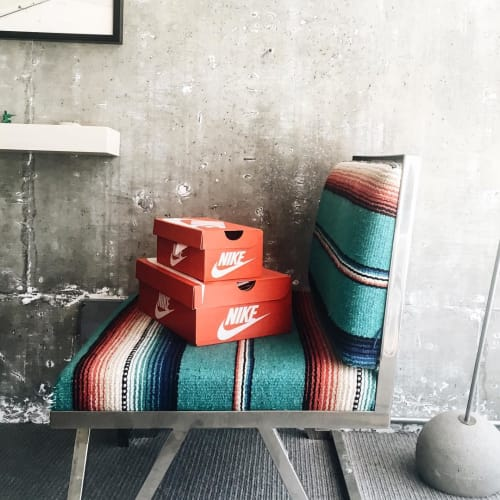 Chairs by Knibb Design by Sean Knibb seen at The LINE LA, Los Angeles - Serape-Upholstered Chairs