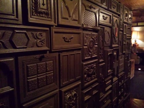 Tiles by Houston Hospitality seen at Good Times at Davey Wayne's, Los Angeles - Vintage Cabinet Doors as Wall Tiles